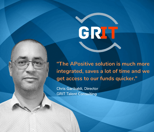 Chris Gariboldi, Director GRIT Talent Consulting: 'The APositive solution is much more integrated, saves a lot of time and we get access to our funds quicker'